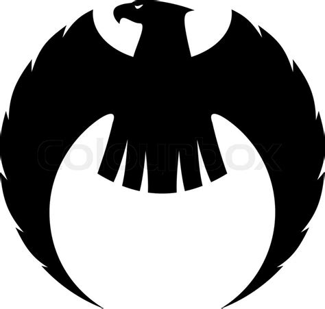 Powerful eagle silhouette with long