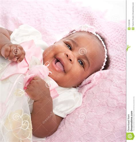 Smilling 6-month Old Baby Girl Portrait Stock Photo