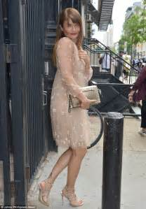 Helena Christensen wears a whimsical nude dress in NYC