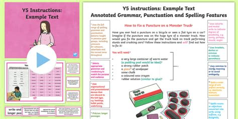 Y5 Instructions Model/Example Text - Example Texts Y5